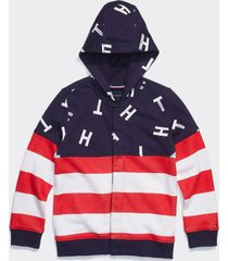tommy hilfiger boy's adaptive hoodie high risk red/ multi - m