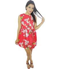 vestido rojo flores blancas vt-00180