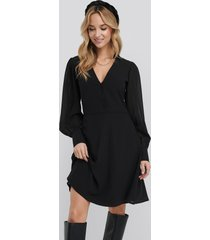 na-kd chiffon shirt mini dress - black