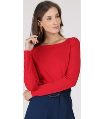 blusa feminina básica manga longa decote redondo vermelha