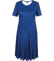 jersey jurk m. collection royal blue::zwart