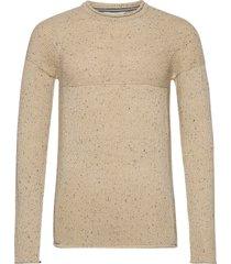 6202620, knit - sdles o-neck stickad tröja m. rund krage beige solid