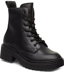 leather boot shoes boots ankle boots ankle boots flat heel svart svea