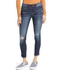 petite women's vigoss jagger destruction crop skinny jeans, size 29 - blue