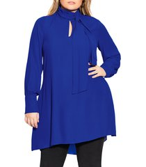plus size women's city chic bow neck dress, size small - blue