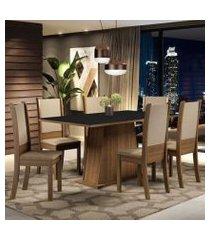 conjunto sala de jantar madesa adriana mesa tampo de madeira com 6 cadeiras cor:rustic/preto/sintético bege