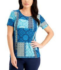 jm collection printed short sleeve jacquard patch top, created for macy's