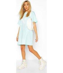 nyc brooklyn printed t-shirt dress, turquoise