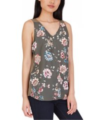 bcx juniors' floral-print contrast-back top