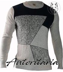 sweater diseño geometrico para hombre casual autoritaria sa22 - beige