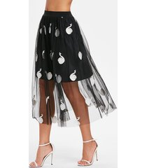 midi mesh swan embroidered skirt