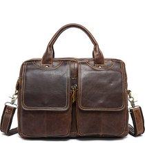borsa a tracolla da uomo in vera pelle vintage 14 pollici con tracolla per laptop
