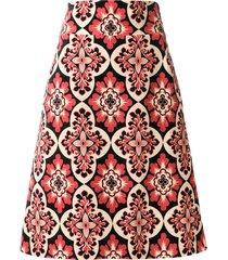 la doublej vintage print a-line skirt - black