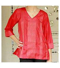 silk tunic, 'holiday crimson' (india)