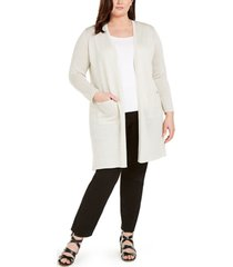 eileen fisher plus size recycled cashmere open-front longline cardigan
