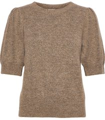 angie knit tee t-shirts & tops knitted t-shirts/tops beige minus