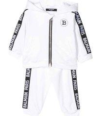 balmain sport suit with frontal zip and hood