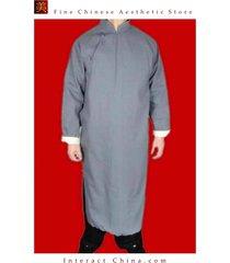 100% cotton grey kung fu martial arts tai chi long coat robe tailor custom made
