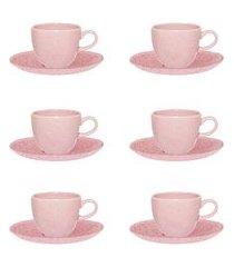 jogo de xícaras para café oxford ryo 12 peças porcelana pink sand