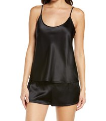 women's la perla silk short pajamas, size medium - black