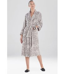 cashmere fleece plush leopard sleep & lounge bath wrap robe, women's, size m, n natori