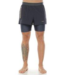 pantaloneta running, color gris para hombre