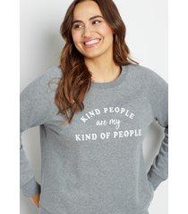 maurices plus size womens gray kind people crew neck sweatshirt