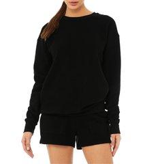 women's bella+canvas sueded crewneck sweatshirt, size x-small - black