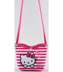 bolsa infantil hello kitty listrada rosa escuro