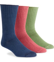 maggie's organics maggie's organics assorted 3-pack organic cotton blend crew socks, size large in raspberry navy forest at nordstrom