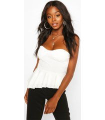 crepe cup detail peplum top, ivory