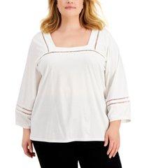 calvin klein plus size crochet-trim cotton top