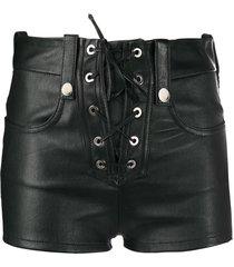 manokhi lace-up leather shorts - black