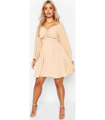 plus puff sleeve ruched detail skater dress, tan