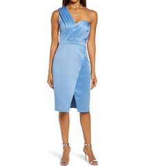 chi chi london one-shoulder pleated faux wrap bodycon dress, size 10 in blue at nordstrom