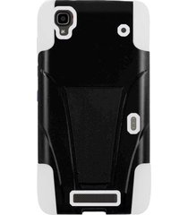 amzer double layer hybrid case with kickstand for zte max n9520 - black/ white