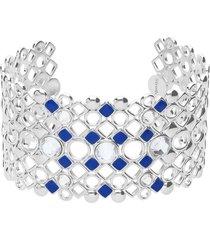 bracciale rigido in ottone rodiato con cristalli e smalto blu spessore 3,2 cm per donna