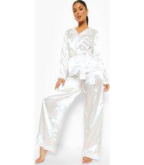 satijnen kanten honeymoon wikkel pyjama met parelknopen, white