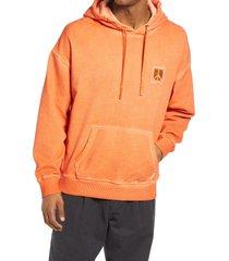 men's saturdays nyc grande peace men's hooded sweatshirt, size medium - orange