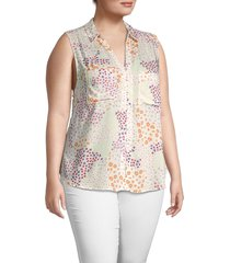 cooper & ella women's plus floral sleeveless shirt - white multicolor - size 1x (14-16)