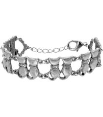2028 women's silver tone crystal multi double cat chain bracelet