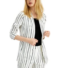 alfani petite striped ruched-sleeve jacket, created for macy's