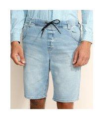 bermuda de moletom jeans masculina relaxed com cordão azul claro