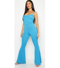 cupped ribbed flare jumpsuit, horizon blue