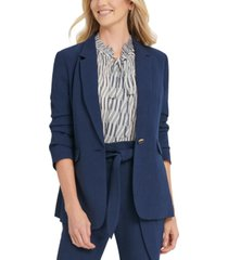 dkny one-button ruched-sleeve blazer