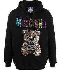 moschino embellished teddy hoodie - black