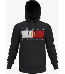 tommy hilfiger men's essential flag hoodie jet black - xxl