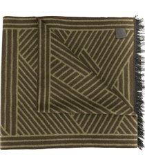 shanghai tang brushed silk patterned scarf - brown
