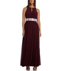 r & m richards petite embellished-waist gown