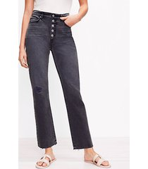 loft petite button front fresh cut high rise straight crop jeans in washed black wash